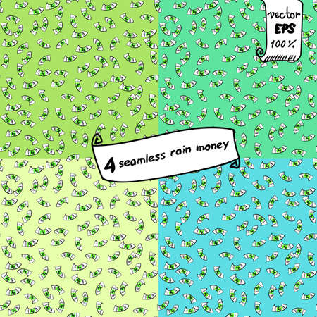 fall down: Seamless vector pattern. Cartoon money fall down like rain. For fashion design or packaging, hand-drawn