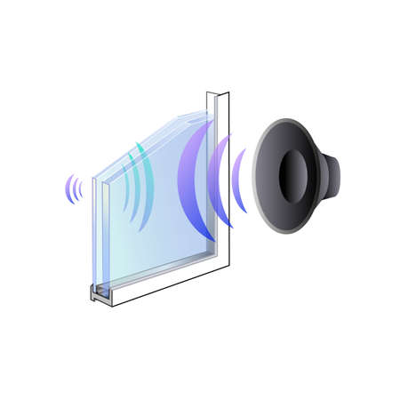 advantages of glass, its ergonomics of the thermal properties, insulated Windows, sound insulation. Silver plating technology of reflection Stock Illustratie