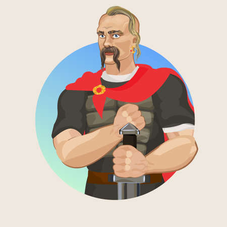 dniper: Svetoslav I. historical character in vector, The ancient Rusich and armor with sword Illustration