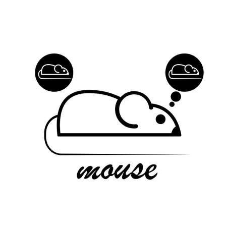 rodent: Stylish icon of a white mouse for web and print. Minimalistic symbol of the home of a rodent mouse or rat black and white vector illustration Illustration