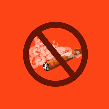 The topic of the Smoking ban in all places, Cuban cigar in a cloud of smoke and a prohibition sign. Illustration