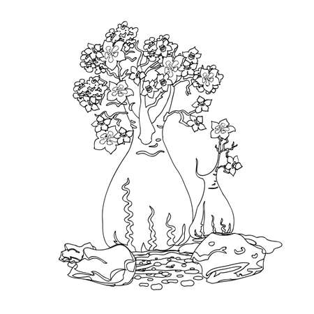 dyeing: southern bottle tree element and stones with decorative lines of grass. Vintage, engraving for color. Black and white coloring pages for adults. Vector illustration.