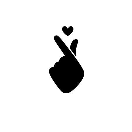 folded hand: Vector illustration. Korean symbol hand heart, a message of love hand gesture. Sign icon stylized for the web and print. The hand folded into a heart symbol. Illustration