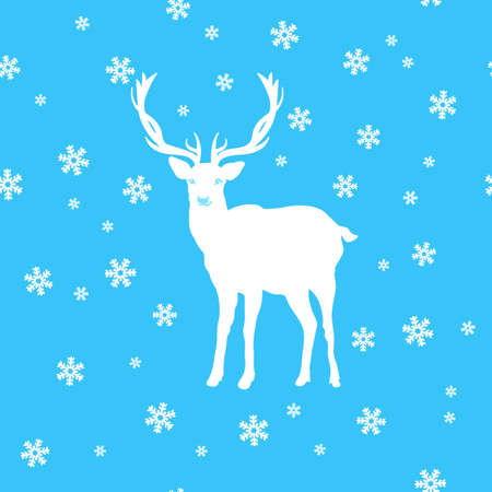 Greeting card, the silhouette of a white deer amid the snow and stars, seamless background of snow and stars. Wishes merry Christmas, vector illustration. Illustration