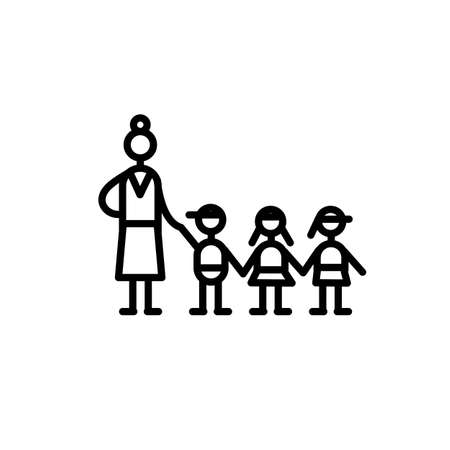 Icon flat minimal style vector. Kindergarten, group educator and three children are holding hands