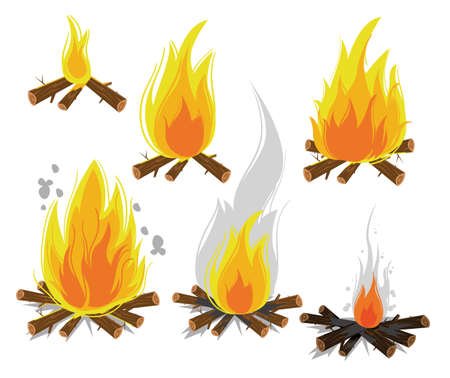 fiery: Set of cartoon Bonfires on white background isolated vector illustration. Camping fire evolution Illustration