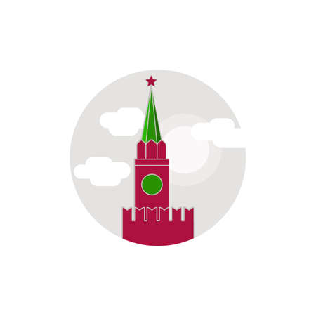 moscow city: Round vector icon symbols , in flat style. Illustration
