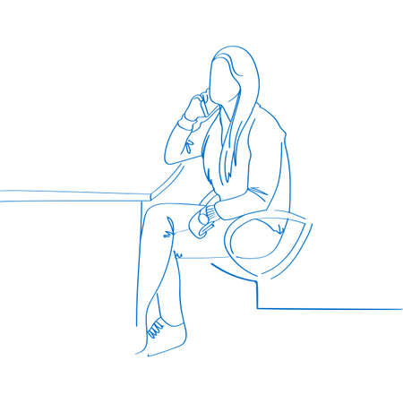 Young Hand drawn woman Talking on the phone in office. Vector illustration. Use in website, corporate report, presentation, advertisement, marketing, promotion, business templates, brochures, banners