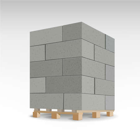 Aerated autoclaved concrete block. Isolated Foam concrete on pallets. vector illustration Stock Illustratie
