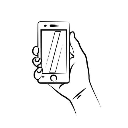 The pictogram of a hand holding a smartphone smart icon Illustration