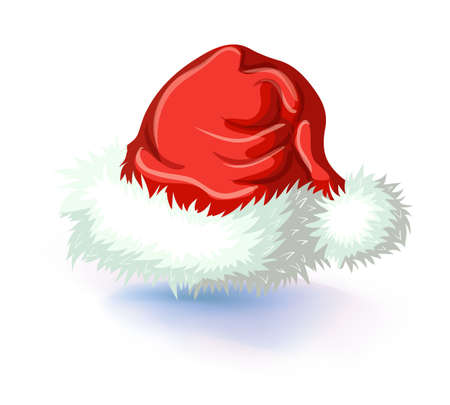 Single Santa Claus red hat isolated on white background vector illustration. Masquerade or carnival costume headdress