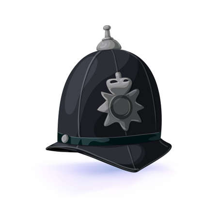 London policeman helmet. Vector illustration. Masquerade or carnival costume headdress