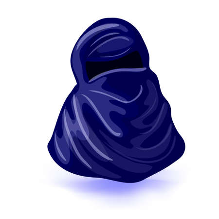 arabic muslim woman niqab. Isolated drawing on a white background vector illustration. Masquerade or carnival costume headdress Illustration