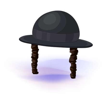 shabat: sombrero negro del cilindro. Sombrero judío ortodoxo con las patillas. Judaísmo símbolos Ilustración vectorial. Mascarada o tocado de disfraz de carnaval