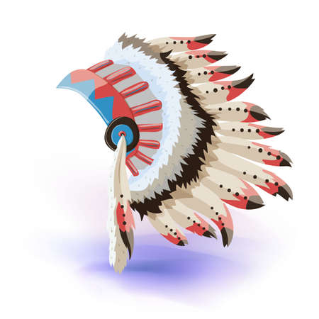 Native American Indian Headdress. Vector Color Illustration Of Tribal Chief Feather Hat. Vector illustration. Masquerade or carnival costume headdress Illustration