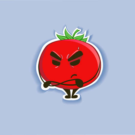 Funny cute red characters - tomato, isolated on a gray background. Vector illustration
