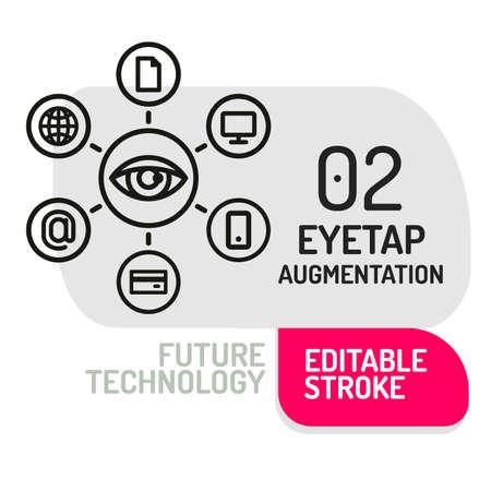augmentation: Eyetap Augmentation icon. Thin line Icon of Future Technology. Vector Symbol