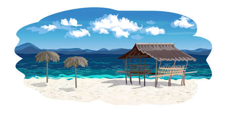 The seaside background in vector, empty beach, white fine sand, the curly clouds, the umbrellas made of palm branches and a gazebo Bungalow. Color vector illustration.