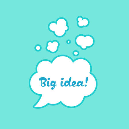 The inscription in the bubble big idea sticker illustration vector for dialogue in the cartoons Illustration