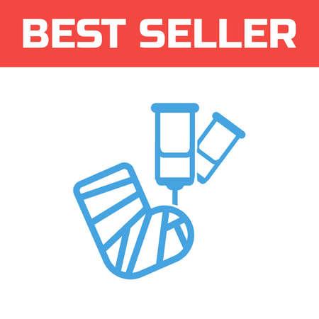 Broken leg icon . Single high quality outline symbol for web design or mobile app. Thin line sign for design logo. Blue pictogram on white background. Vector illustration.