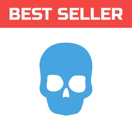 privateer: Skull icon . Single high quality outline symbol for web design or mobile app. Thin line sign for design logo. Blue pictogram on white background. Vector illustration.