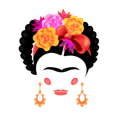 The modern image of a woman of the Mexican artist by the origin of Frida Kahlo. Vector illustration.