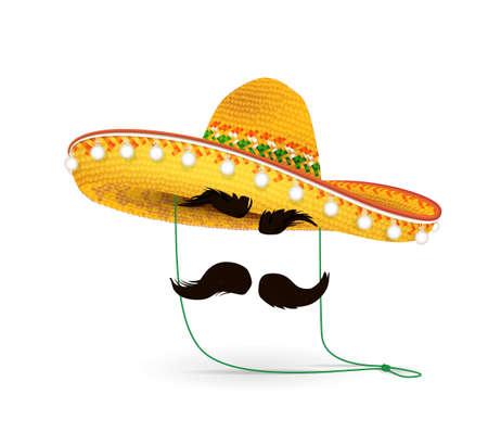 솜브레로 모자 벡터 일러스트 레이 션. 흰색 배경에 멕시코 모자입니다. 가장 무도회 또는 카니발 의상 머리 장식