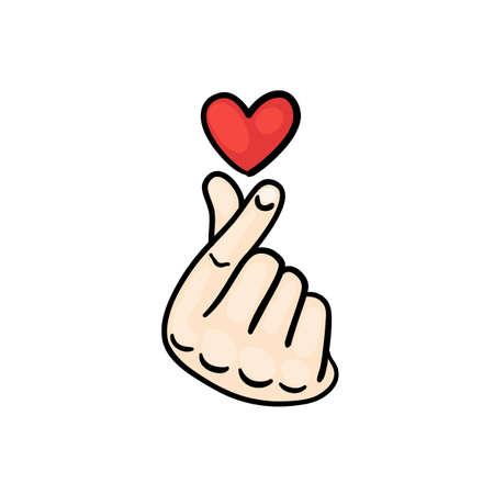 Icône de signe stylisée pour le web et l'impression. La main pliée dans un symbole de coeur. Vecteurs