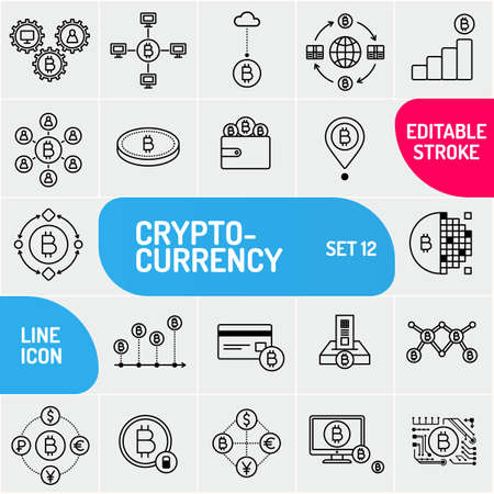 Crypto currency line icons. Universal set of bitcoin icons. Can use for web and mobile applications Vector illustration