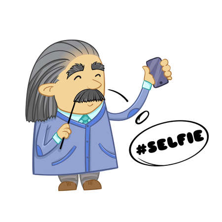 Cute scientist. Cartoon design of funny scientist. Illustration