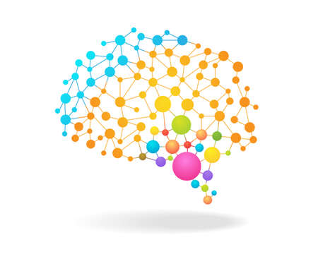 Digital concept of colorful brain mapping with dots, circles and lines. Vector illustration