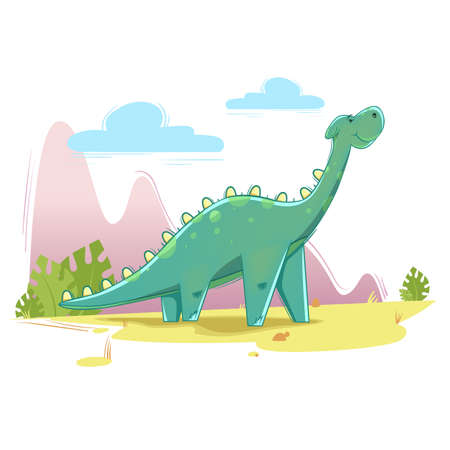 cute dinosaur on the nature background. Vector illustration in cartoon style.