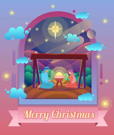 Marie et Joseph avec l'enfant Jésus, crèche de Noël sous le ciel d'étoiles. Illustration de dessin animé de vecteur moderne.