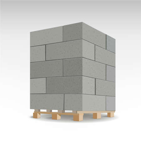 Aerated autoclaved concrete block. Isolated Foam concrete on pallets. Vector illustration. Vettoriali
