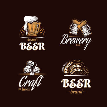 Vintage brewery set. Beer retro badge. Beer house design template. Icon brewing company. Vector illustration. Illustration