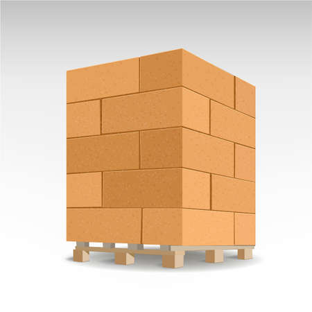 Aerated concrete block. Isolated Foam concrete on pallets.