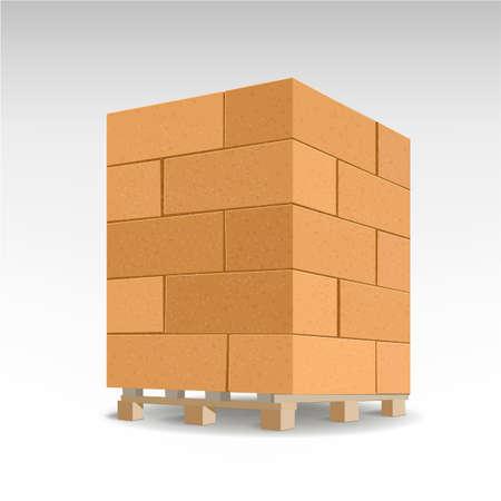 Cellenbeton blok. Geïsoleerd Schuimbeton op pallets. Vector Illustratie