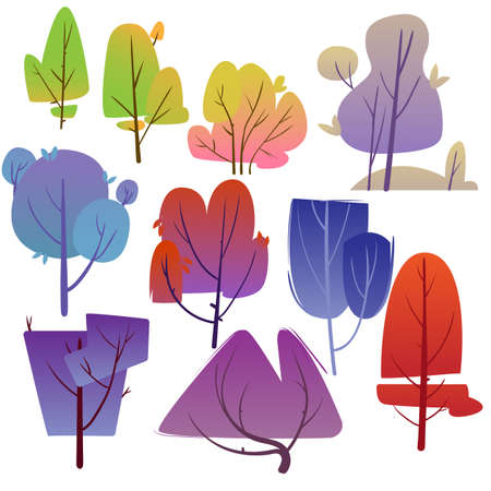 Set of cartoon tree. Design of trees of different shapes with bright foliage. Vector illustration.