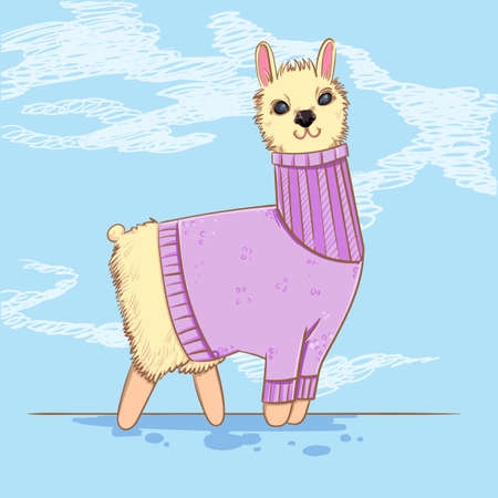 Cute alpaca or lama in a sweater on blue background. Farm animals. Kiddie cartoon character.