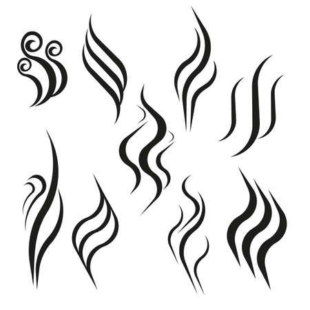 Geruch Aroma und Wärme Zeichen gesetzt. Geruch und Geruch oder heiße Dampfsilhouetten. Rauchen Sie die heiße Vektorikone, die auf weißem Hintergrund lokalisiert wird. Vektorgrafik