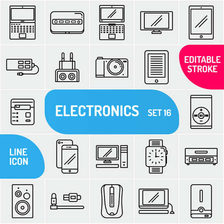 Technology icons set. Outline style. Collection electronics multimedia and devices. Vector illustration. Çizim