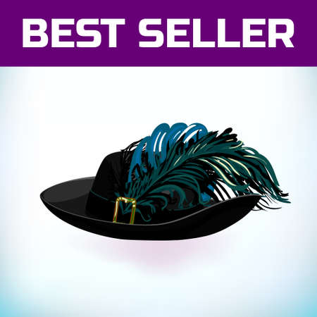 Hat musketeer France or pirate old hat with feather, made of felt or leather with an iron buckle. Vector illustration. For a masquerade, or historical attribute of a costume.