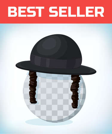 Orthodox jewish hat with sideburns. Black cylinder hat on transparent head.