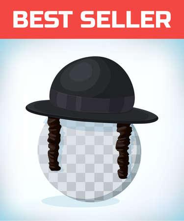 Orthodox jewish hat with sideburns. Black cylinder hat on transparent head.