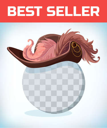 Musketeer hat with feather. Vintage pirate hat. Masquerade costume headdress. Carnival or Halloween mask. Cartoon Vector illustration.