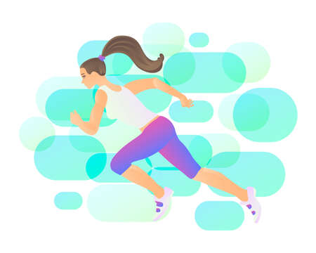 Running woman athlete in space, fantasy vector art. Strength, health, call to action and activity Illustration
