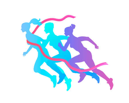 Three women silhouette run to victory, overcoming difficulties, achieving success and results in sports. Marathon, running to the finish. Modern color vector illustration. Illustration