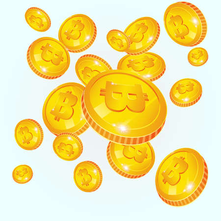 Bitcoin falls. Golden coins with bitcoin symbol isolated on white background. Digital currency or Cryptocurrency for electronic payments. Bitcoin and blockchain technology concept. Vector illustration.