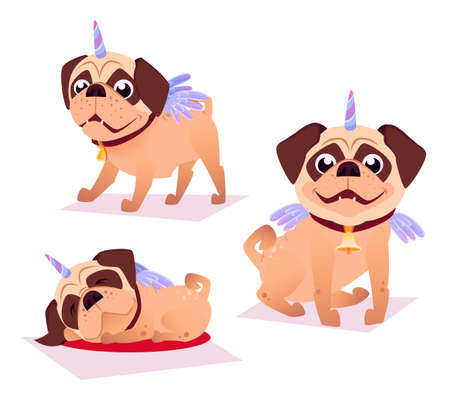 Cute pug in unicorn costume. Unicorn Dog. It can be used for sticker, patch, phone case, poster, t-shirt, mug and other design. Stock Illustratie