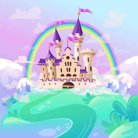 FairyTale cartoon castle. Cute cartoon castle. Fantasy fairy tale palace with rainbow. Vector illustration.